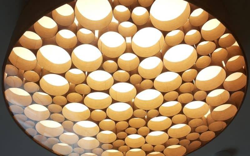 Rankų darbo šviestuvas iš organinio stiklo, faneros, faneruotės, led