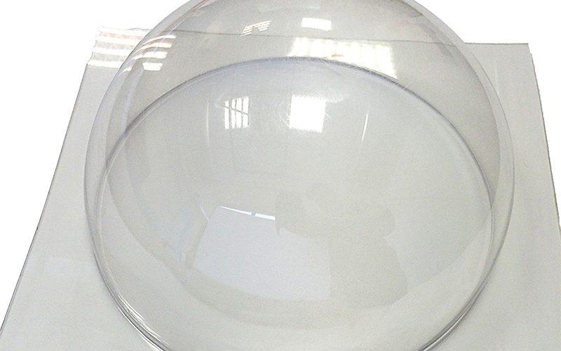 Vakuuminiu būdu formuotas pusrutulis iš skaidraus organinio stiklo