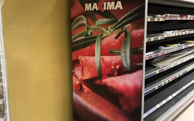 Plačiaformatė spauda ir spaudos klijavimas Maxima parduotuvėje